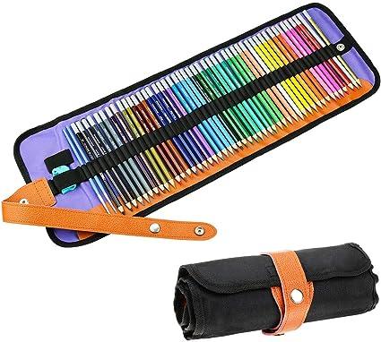 Powcan 48 Lápices de Colores Juego de lápices para Colorear Artístico con Estuche Nylon y Sacapuntas para Adultos, Niños, Artistas, Dibujar, Pintar, Colorear: Amazon.es: Oficina y papelería