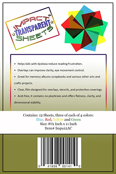 Amazon.com: 12 Pack - Colored Overlays, Transparency Color Film ...