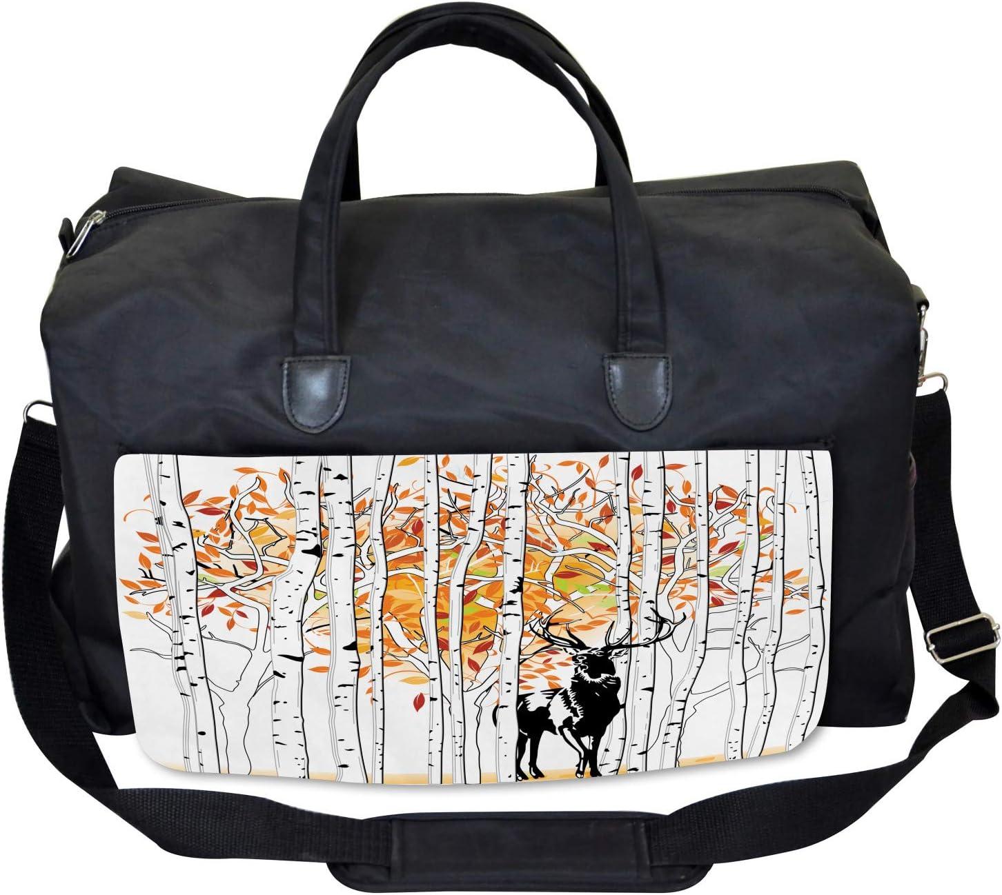 Ambesonne Deer Gym Bag Large Weekender Carry-on Trees Foliage Wilderness