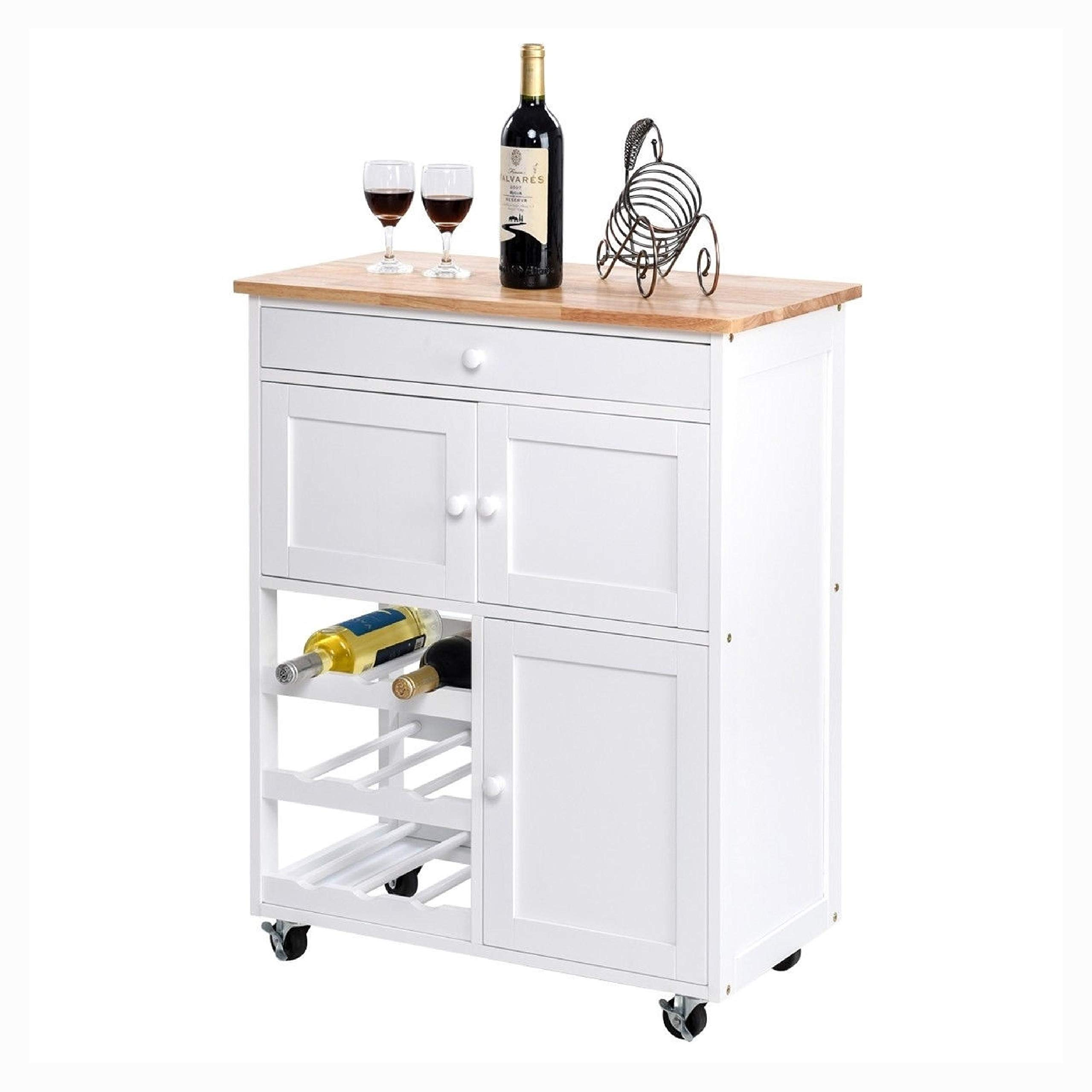 Mobile Kitchen Island Cart Cabin et with Win e Rack in White, Mobile Kitchen Island Cart Cabinet with Wine Rack in White