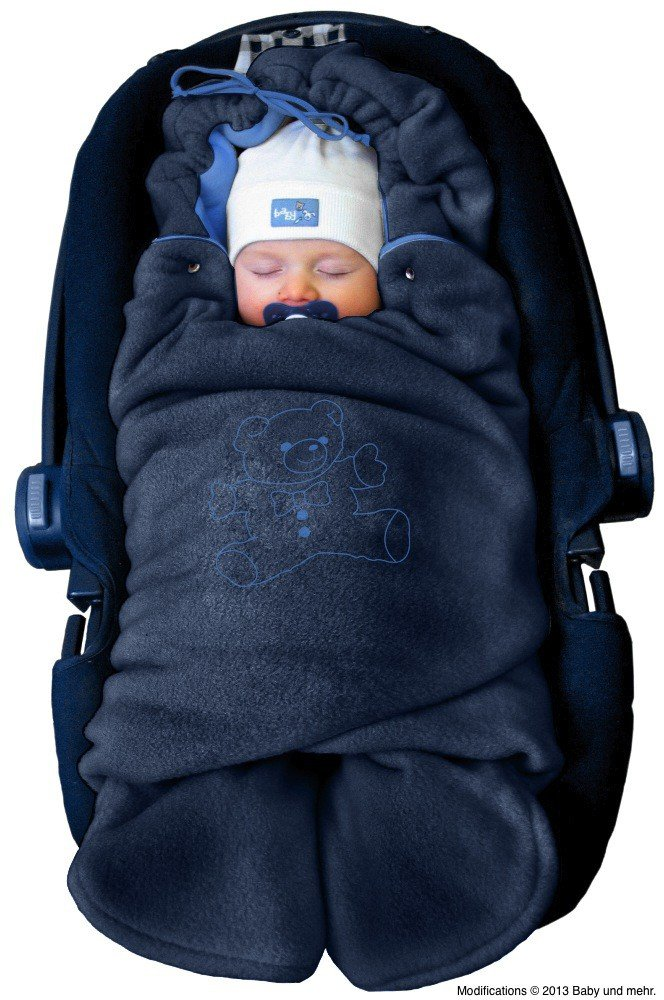 ByBoom® - Swaddling Wrap, Car Seat and Pram Blanket for Winter, Universal for infant and child car seats (e.g. Maxi-Cosi, Britax), for a pushchair/stroller, buggy or baby bed; THE ORIGINAL WITH THE BEAR, Color:Anthracite/Aqua BM-32