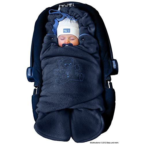 ByBoom¨ - Swaddling Wrap, Car Seat and Pram Blanket for Winter, Universal for infant and child car seats (e.g. Maxi-Cosi, Britax), for a pushchair/stroller, buggy or baby bed; THE ORIGINAL WITH THE BEAR, Color:Dark Blue/Blue