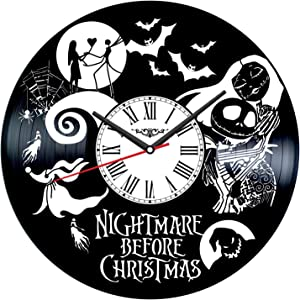 Nightmare Before Christmas Vinyl Record Wall Clock Poster - Vintage Home Decor Kitchen Bedroom Living Room Office - Unique Handmade Gift for Men Woman Friends Boys - 12 inches
