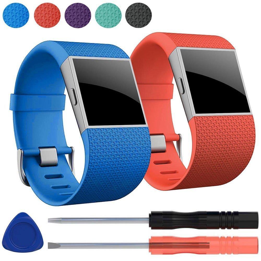 EEEKit 2 Packプレミアムシリコン交換用リストバンドストラップメタルバックルクラスプ付きFitbit Surge腕時計Fitness Trackerなど、スクリュードライバーツールキット B075QZZQZK Blue+Orange Blue+Orange