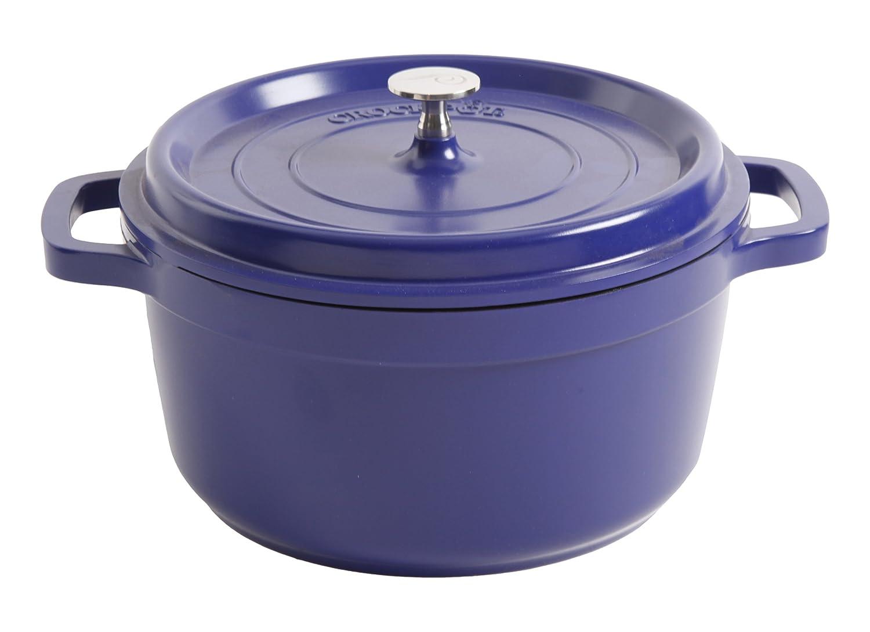 Crock-Pot 98260.02 Edmound Round Cast Aluminium Dutch Oven with Non-Stick Surface, 5 Quart, Blue