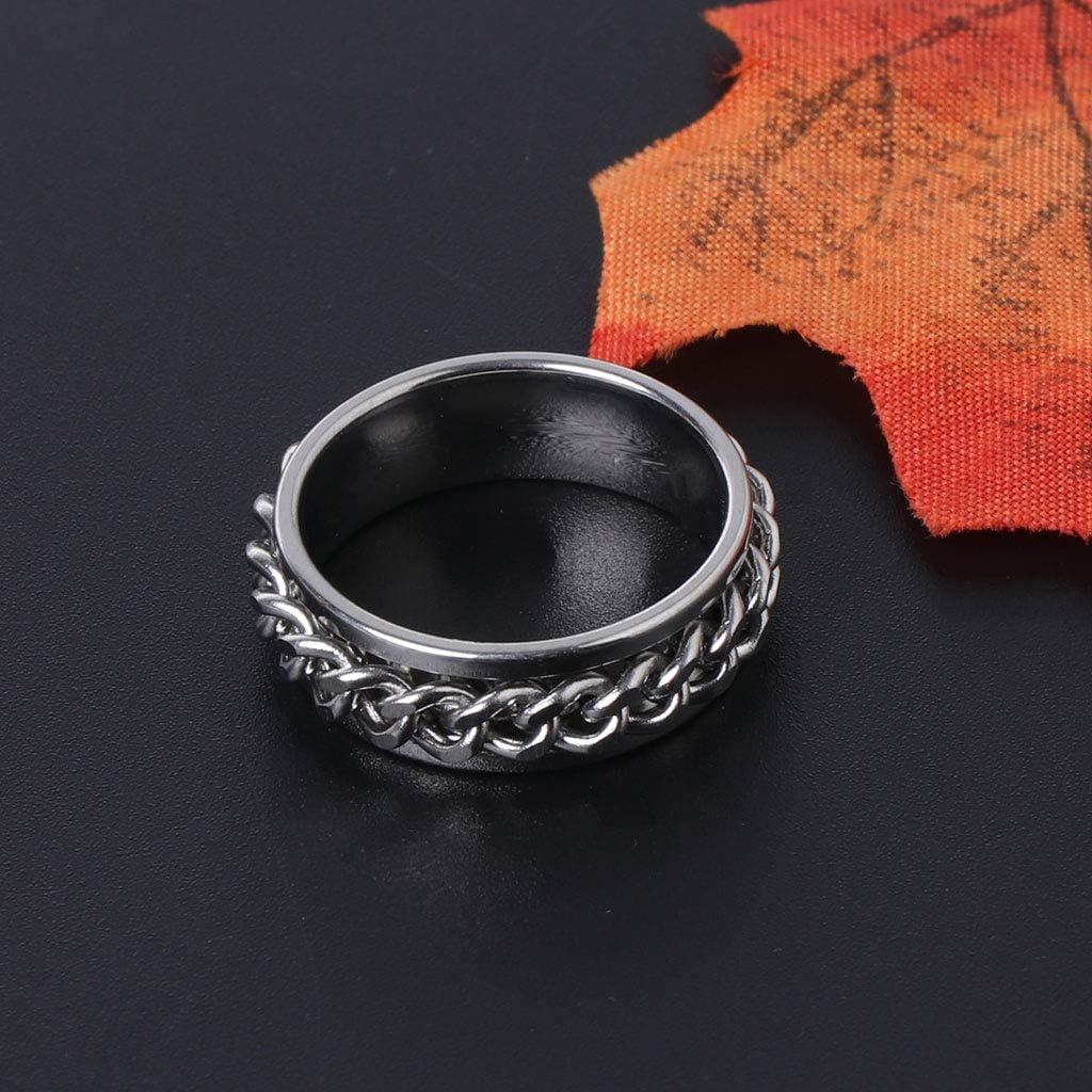 zrshygs EDC Finger Fidget Spinner Edelstahlkette Drehbarer Ring Linderung der Angst B 7