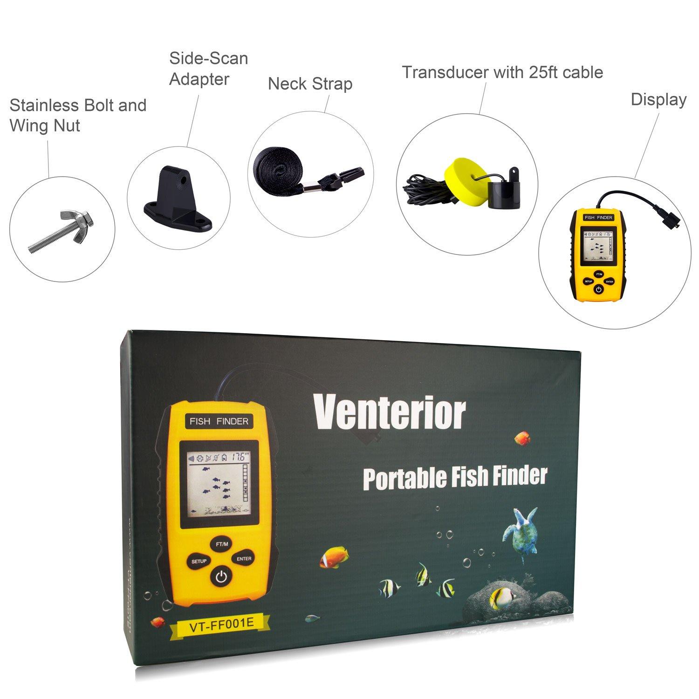 Venterior Handheld Fish Finder Updated Version Portable Fishfinder Fish Depth Finder with Sonar Sensor Transducer and LCD Display