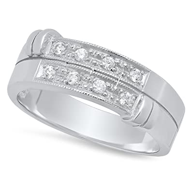 Sterling Silver Cz Accented Baroque Double Row 7 4mm Wedding Band