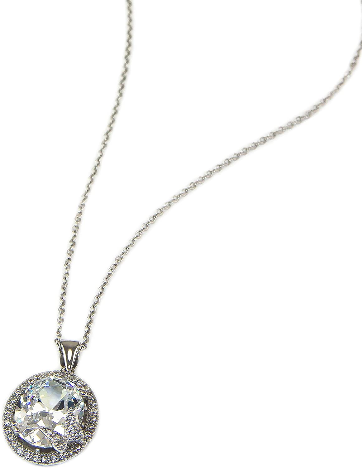 Wostu Hot Selling Evil Eyes Pendant Necklace 925 Sterling Silver Pave Setting