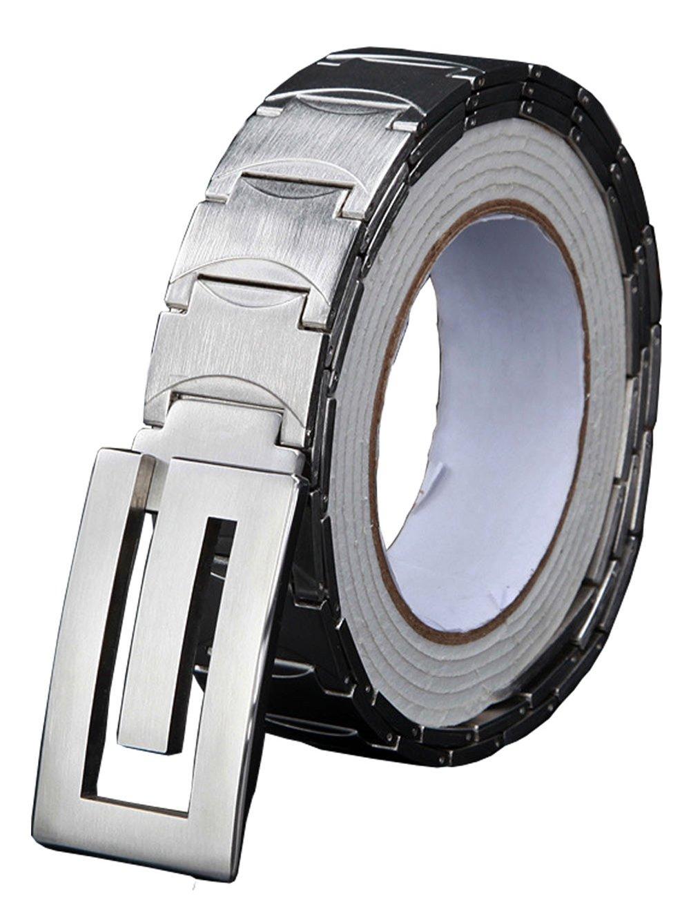 Menschwear Men's Stainless Steel Belt Slide Buckle Adjustable 32mm 159 Silver 110cm by Menschwear