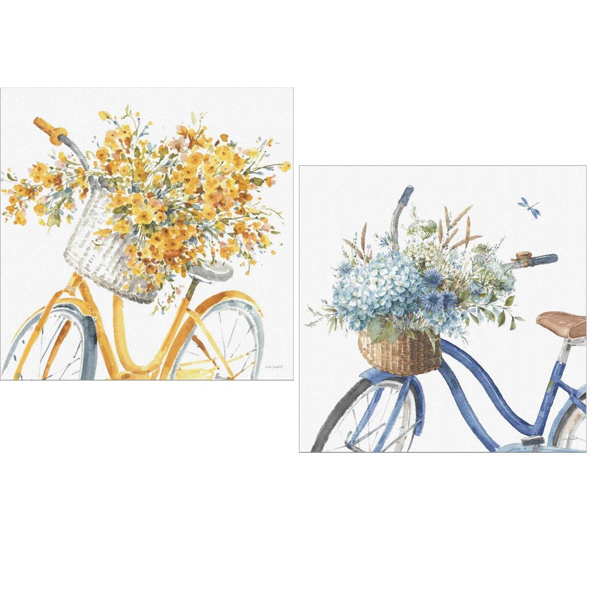 Cuadros decoración bicicletas vintage Amarillo Azul para decorar baño comedor dormitorio cocina office 24x24x7 impermeable con polímero plástico y adhesivo doble cara AJT fort para colgar.
