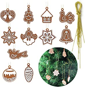 NY Gingerbread Ornaments Christmas Tree Decor 11 Pieces Gingerbread Man Doll Hanging Ornaments Set for The Home Indoor Outdoor Personalized Holiday Christmas Theme Party Hanging Decorations Supplies