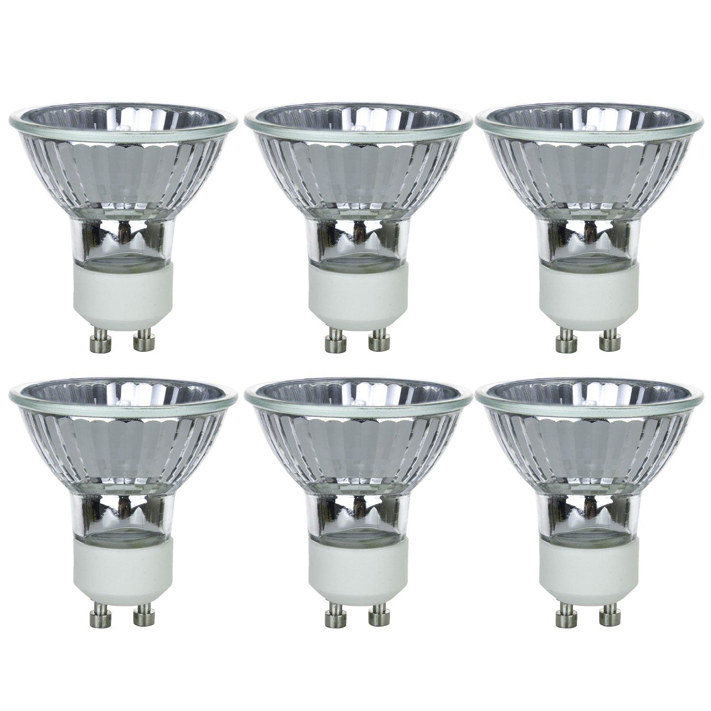 Sunlite Series 35MR16/CG/GU10/FL/120V/6PK Halogen 35W 120V MR16 Flood Light Bulbs, 3200K Bright White, GU10 Base, 6 Pack