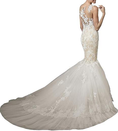 Changjie Damen Ballkleider Lang R¨¹ckenfrei Meerjungfrau Brautkleider  Hochzeitskleider Prinzessin Spitze: Amazon.de: Bekleidung