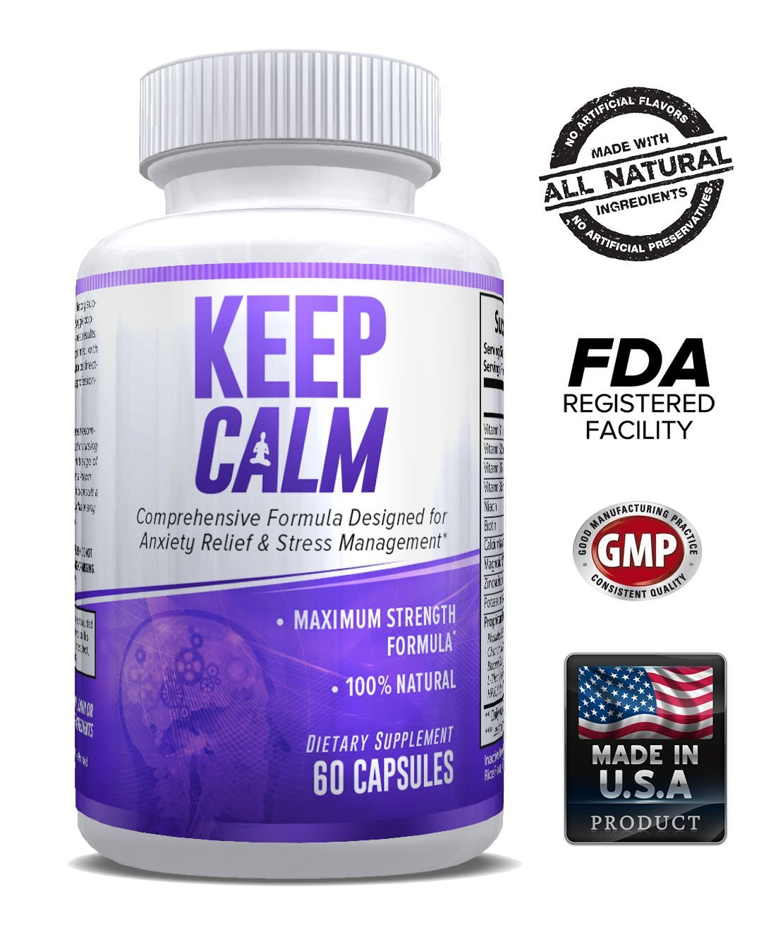 Keep Calm - Anxiety Relief Supplement - Comprehensive Formula for Anxiety Relief & Stress Management in Men & Women - 60 Capsules - Made in USA - Money Back Guarantee.
