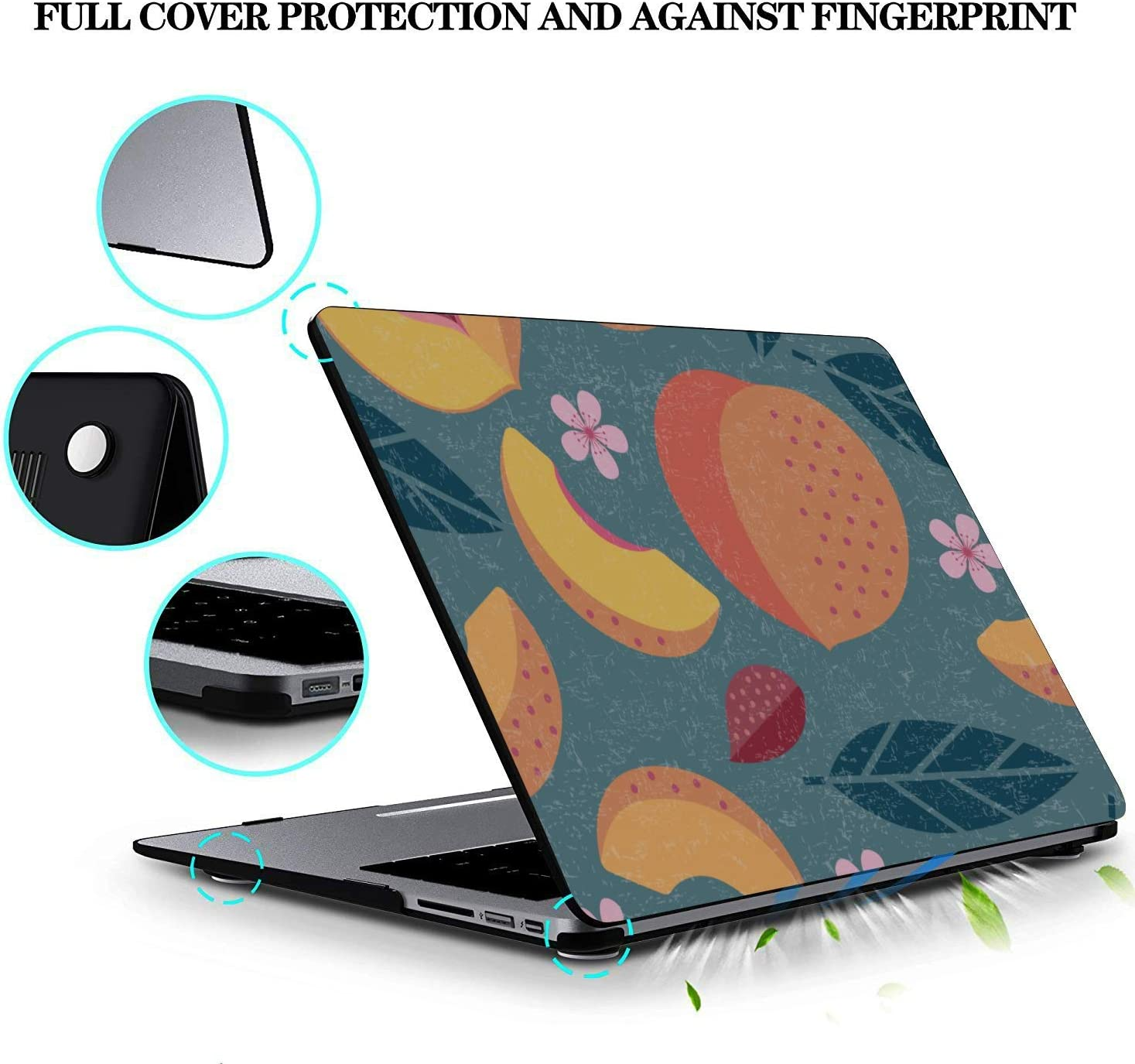 Laptop Shell Case Summer Pink Creative Fruit Peach Plastic Hard Shell Compatible Mac Air 11 Pro 13 15 MacBook Air Cover Protection for MacBook 2016-2019 Version