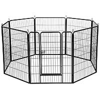 Yahee Welpenlaufstall Tierlaufstall Welpenkäfig Freigehege Laufstall mit Tür aus Metall