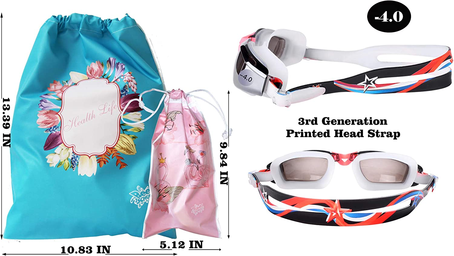 Diopter -1.5 to -6.0 for Unisex-Adult Bee School Myopic Swim Goggles and Bag UV Protection No Leaking Anti Fog