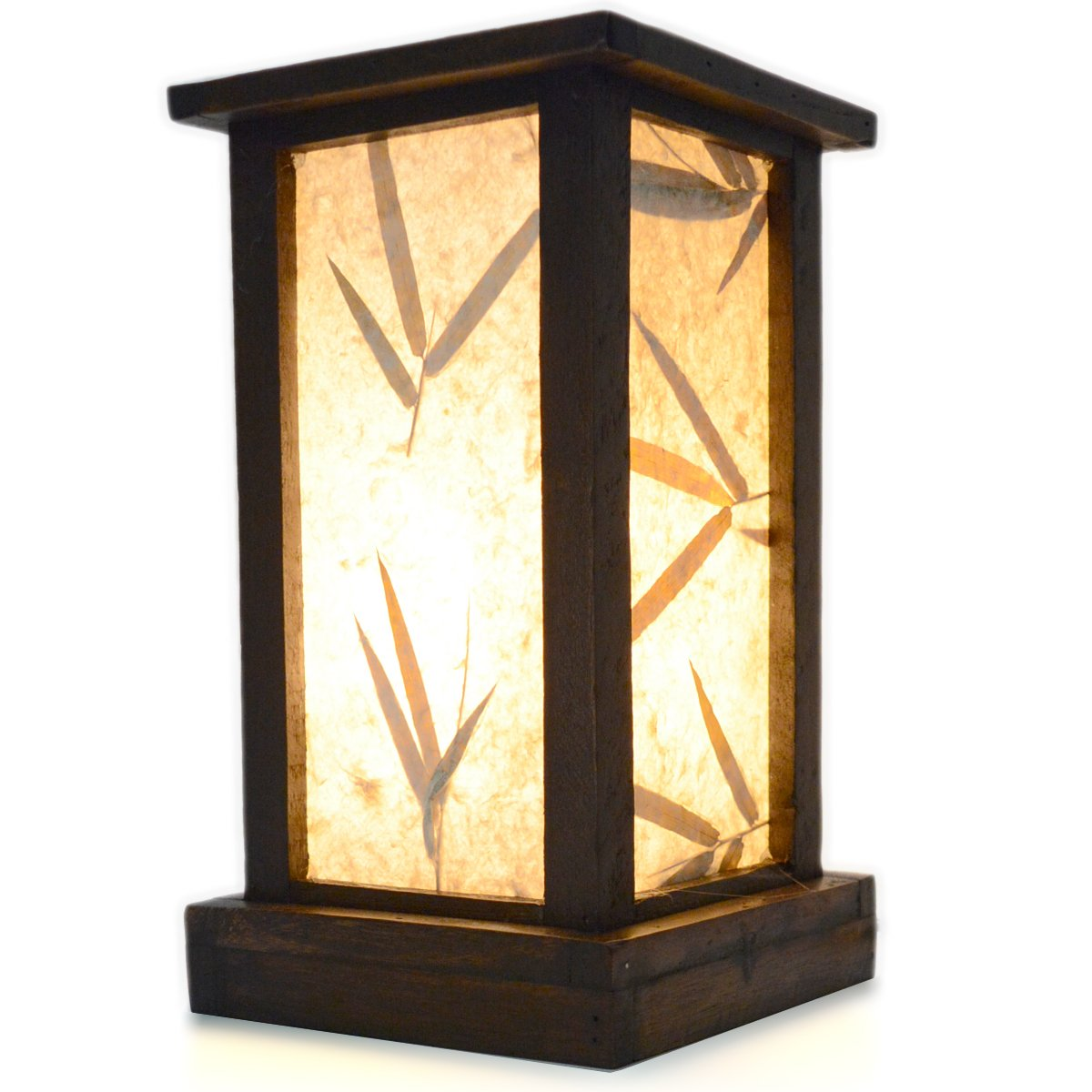 FAI Wood Frame and Paper Shade Rustic Accent Table Lamp, 10.5 inch Bamboo Leaf Shade by Fai Lighting