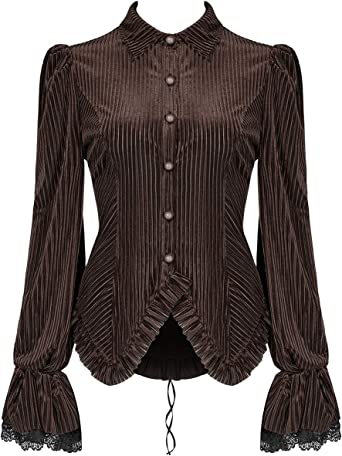 Punk Rave Mujer Steampunk Top Camisa Blusa Terciopelo Marrón Victoriano Corsé Gótico - Marron, 3XL - UK Womens Size 18: Amazon.es: Ropa y accesorios