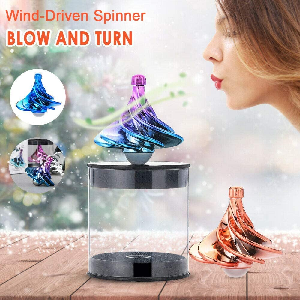 Purple-Green Gradient Secho Wind-Driven Spinning Tops,Turn and Blow Spinner,Air Hand Spinner,Focus Anxiety Stress Relief Boredom Killing Time Toys