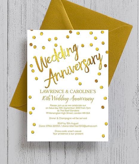 Anniversario Matrimonio Confetti.Personalizzato Confetti Oro Anniversario Di Matrimonio Inviti Con