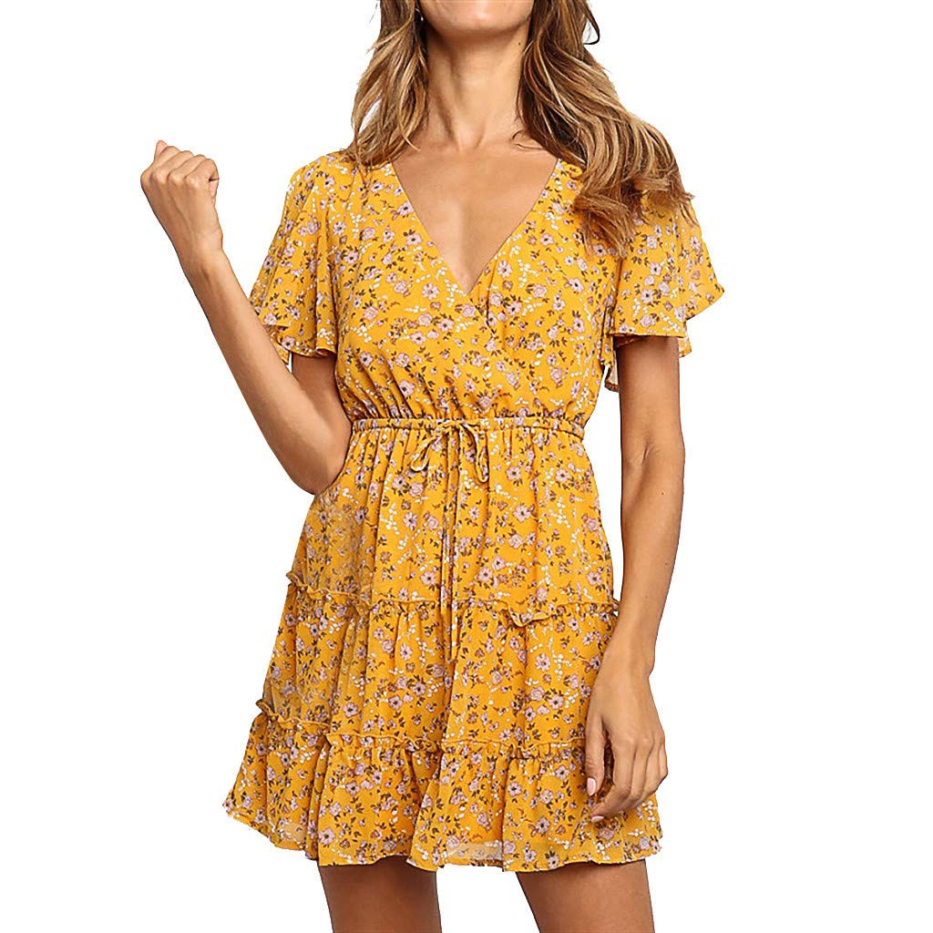 Womens V Neck Ruffle Dress Floral Print Flare Sleeve Boho Drawstring Swing Dresses Yellow
