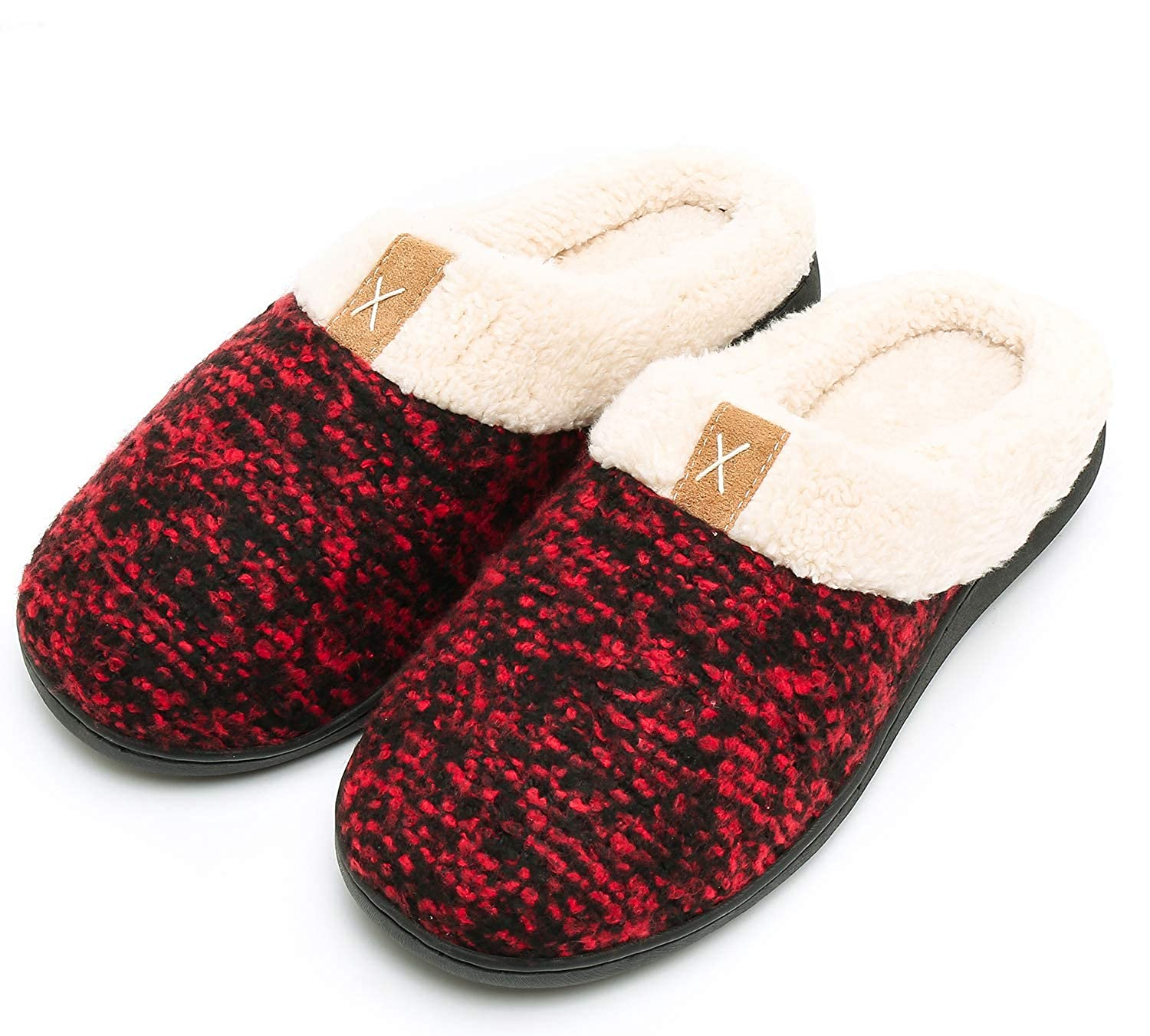 Caissip Women's Cozy Memory Foam Slippers Fuzzy Wool-Like Plush Fleece Lined House Shoes w/Indoor Outdoor