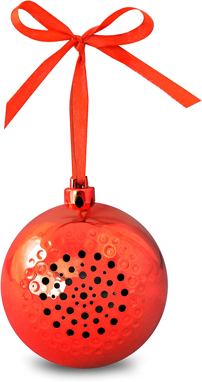 Life Made Tree Tunes Christmas Ornament Bluetooth Speaker for Smartphones - Retail Packaging - Red