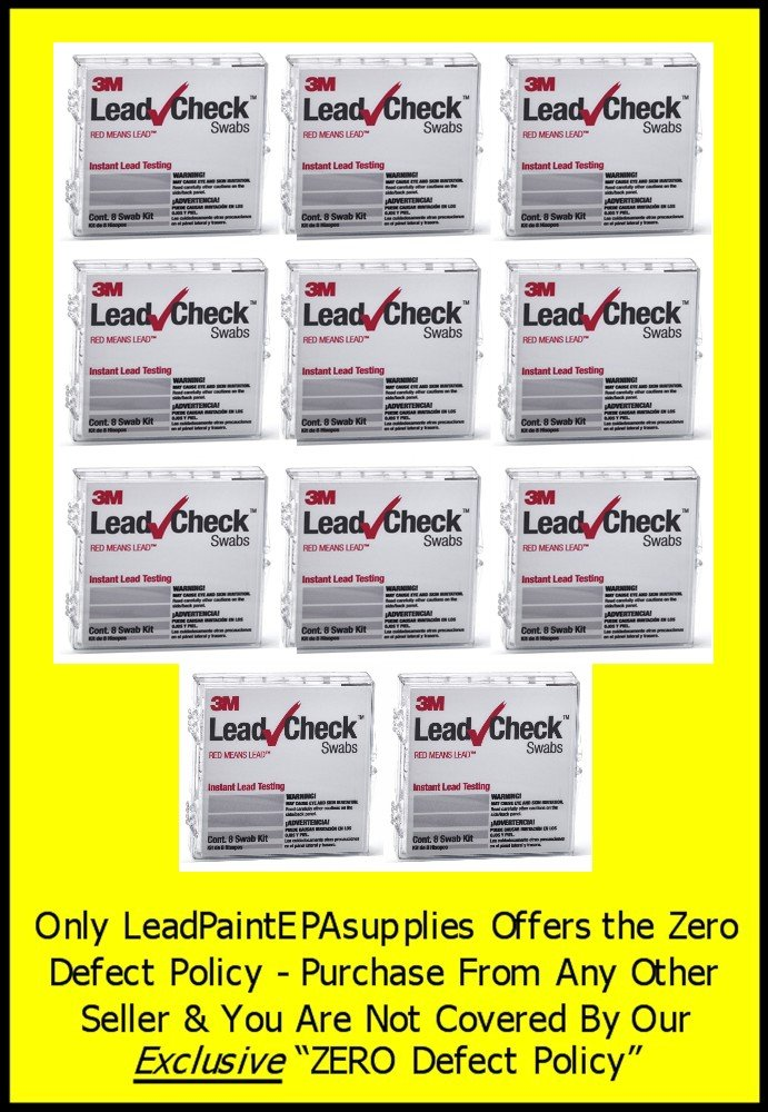 3M, 88 Swab 3M LEADCHECK Lead Tests with verification cards (11-8 packs) - Every swab is checked prior to being shipped for defects - 100% ready to use. LC-88S10C