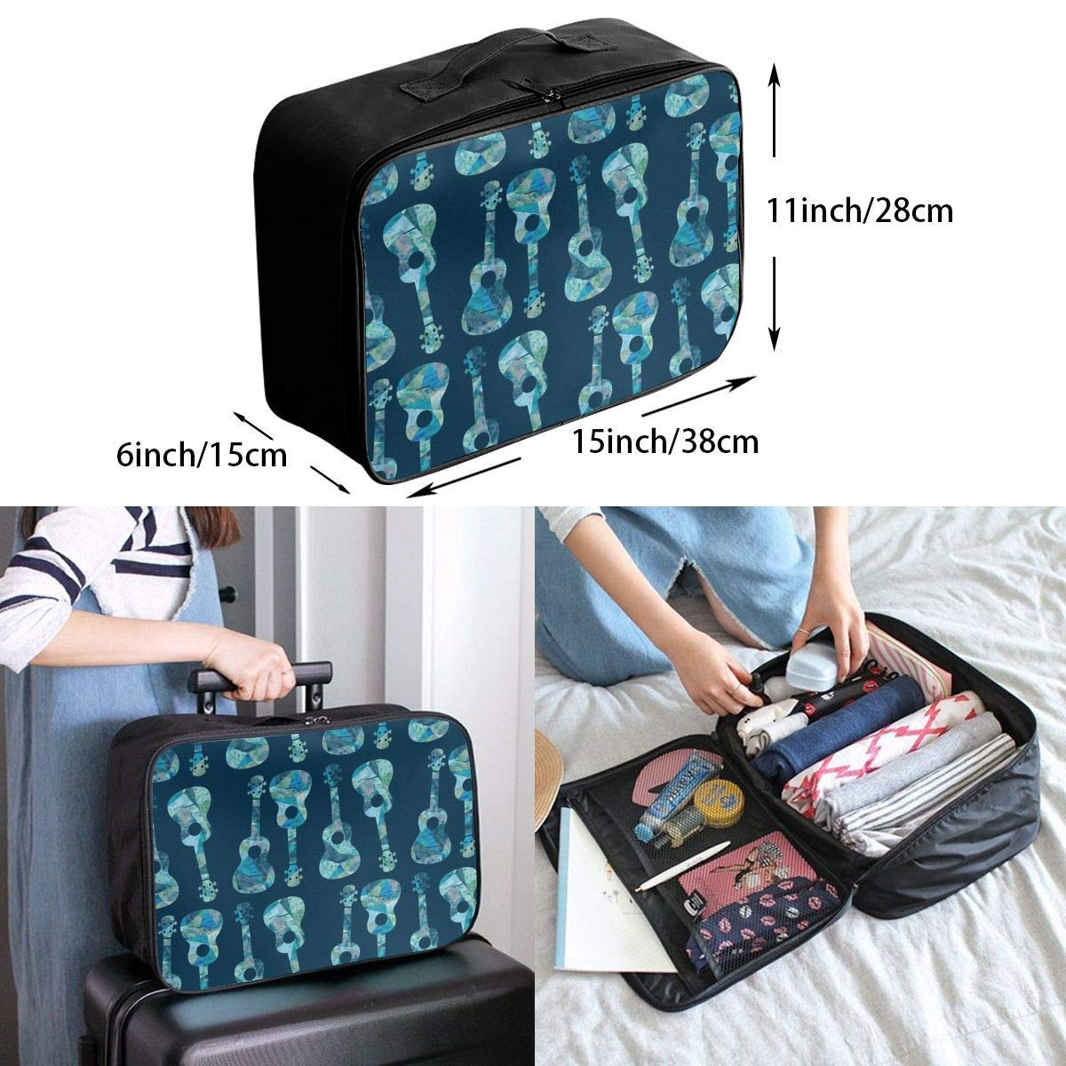Guitar Ukulele Watercolor Travel Lightweight Waterproof Foldable Storage Carry Luggage Duffle Tote Bag JTRVW Luggage Bags for Travel