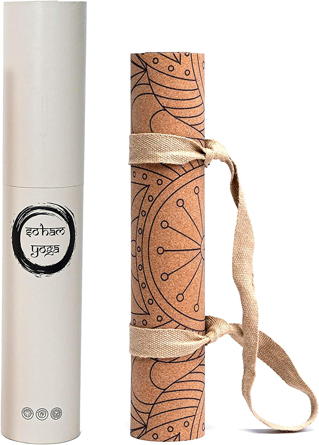 No Odor  Cork Yoga Mat by SoHam Yoga Organic Cork with Natural Rubber Backing  Extra Thick Non-Slip