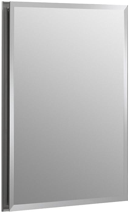KOHLER K-CB-CLR1620FS Frameless 16 inch x 20 inch Aluminum Bathroom Medicine Cabinet; ; Recess Installation Only