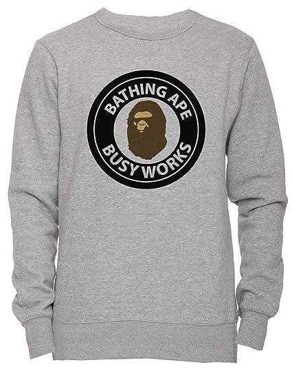 e18b3f0c Bape Bathing Ape Head Circle Logo - Bape Unisex Men's Women's Jumper  Sweatshirt Pullover Grey: Amazon.co.uk: Clothing