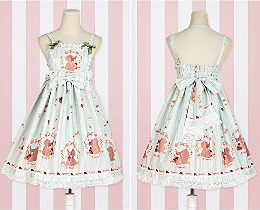 Women's Sweet High Waist Squirrel Printing Lolita Dress