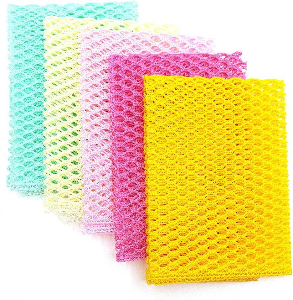 "OliviaTree 5PCS Innovative Dish Washing Net Cloths,Scourer,Quick Dry, Mesh net for Washing Dish, Dish wash net, Dish Sponge, Dish Scrubber 11"" by 11"""