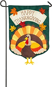 Evergreen Turkey Time Burlap Garden Flag, 12.5 x 18 inches