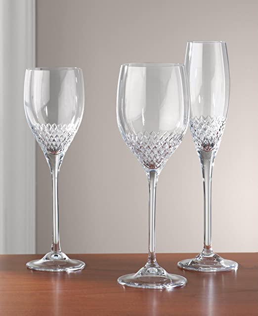 Vera Wang Wedgwood Grosgrain Wine Water Glass Crystal Made in Germany