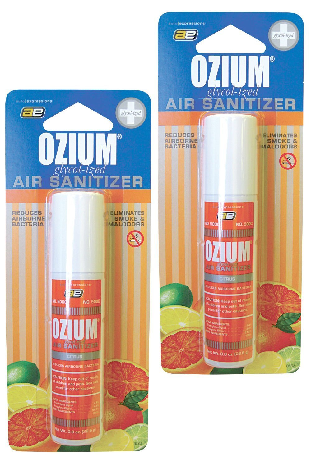 Ozium Smoke & Odor Eliminator Car & Home Air Sanitizer / Freshener, 0.8oz Spray Citrus - Pack of 2 Kraco