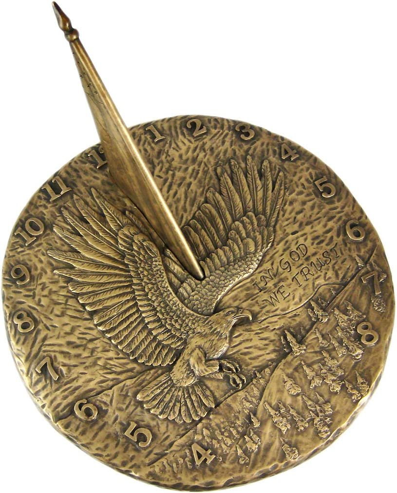 Bronze Finish Flying Eagle Sundial American Patriotic