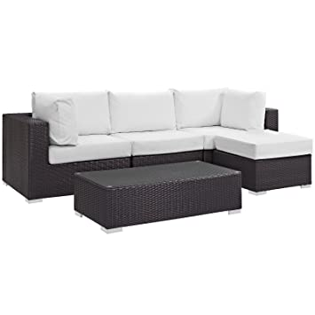 Modway Convene Wicker Rattan 5-Piece Outdoor Patio Sectional Sofa Furniture Set in Espresso White