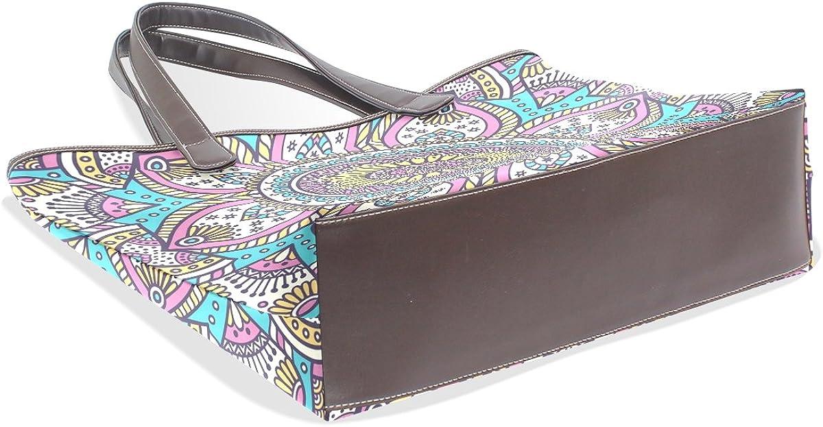 Sunlome Madala Hippy Pattern Handbags For Women Girls PU Leather Shoulder Tote Bag