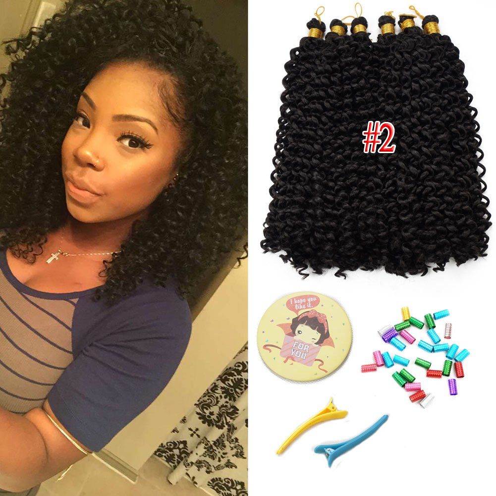 39826d9cfd Amazon.com   Synthetic Water wave bundles Curly Crochet Hair Extensions  Bohemian braiding hair 14inch 100g Bulk Hair 6pack lot ( 2)   Beauty