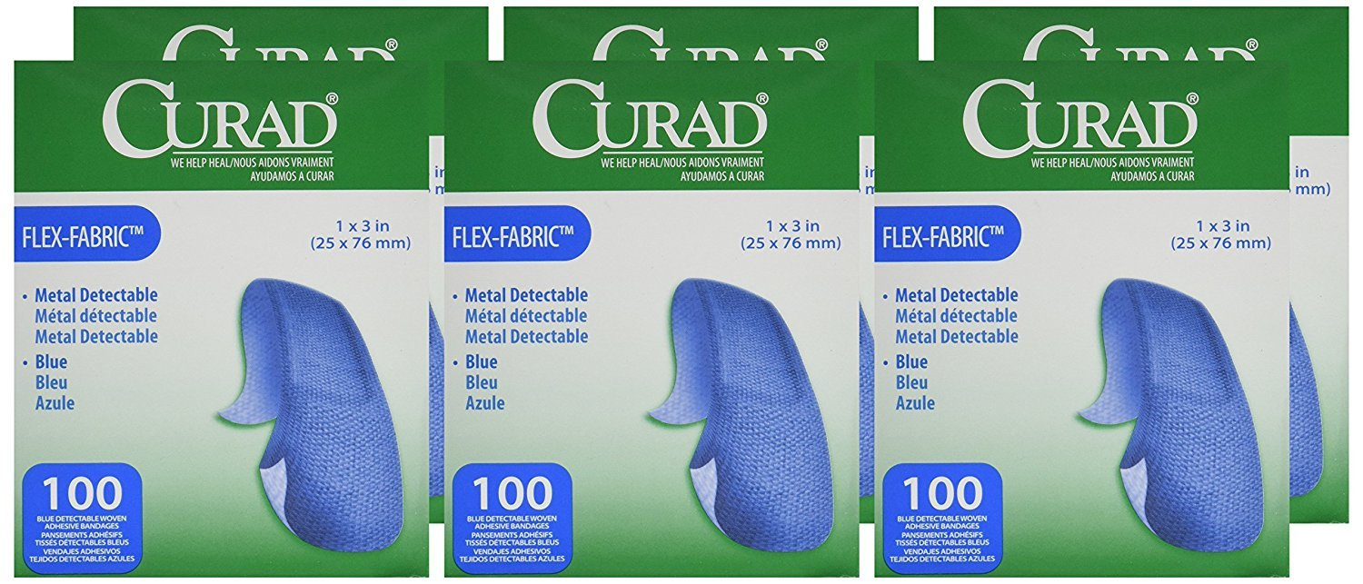Curad Woven Blue Detectable Bandage, 100-Count (Pack of 6)