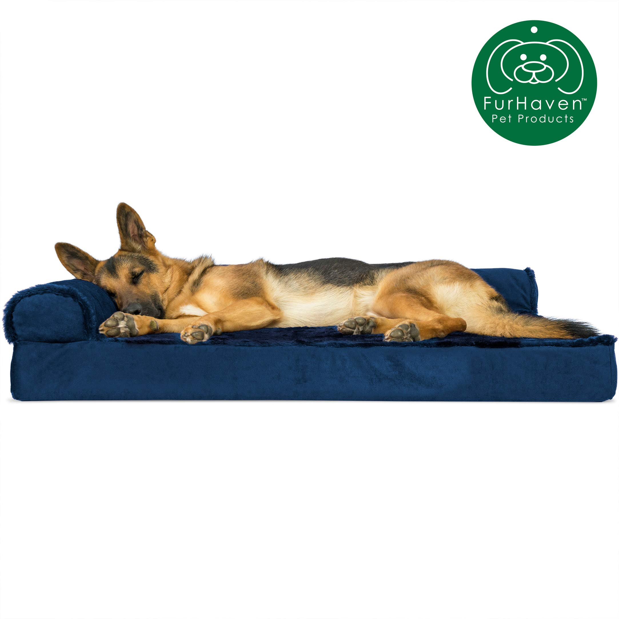 Furhaven Pet Dog Bed | Deluxe Orthopedic Plush Faux Fur & Velvet L Shaped Chaise Lounge Living Room Corner Couch Pet Bed w/ Removable Cover for Dogs & Cats, Deep Sapphire, Jumbo by Furhaven