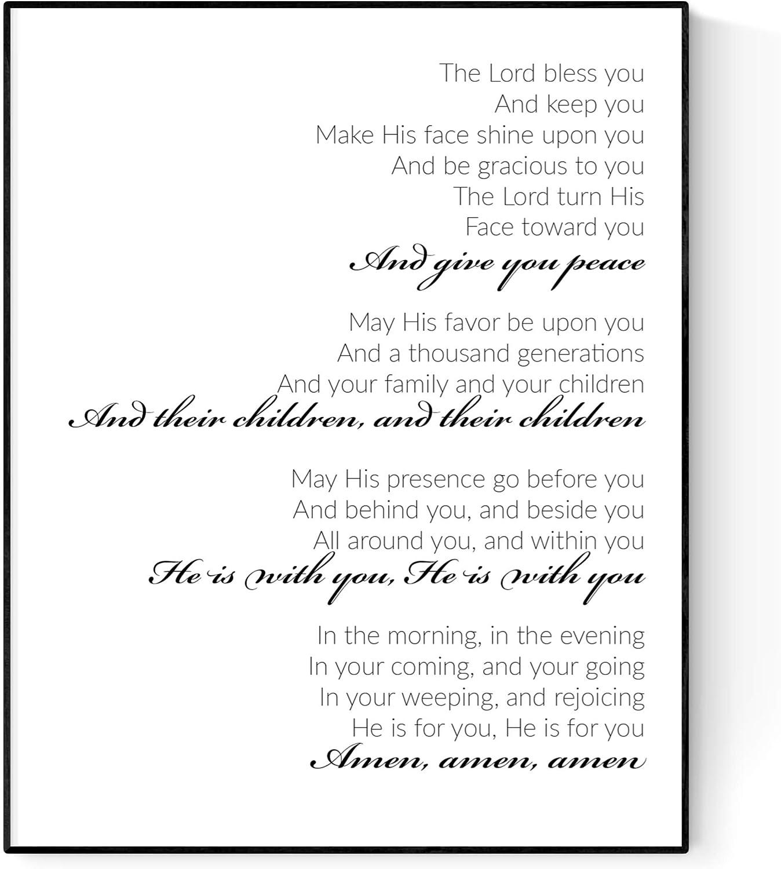 The Blessing Typography | Elevation Worship | Kari Jobe | Christian Music Art Print (16x20)
