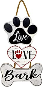 STC World Dog Decor Paw Sign Plaque Door Wall Room Wooden Hanging/Live Love Bark / 18