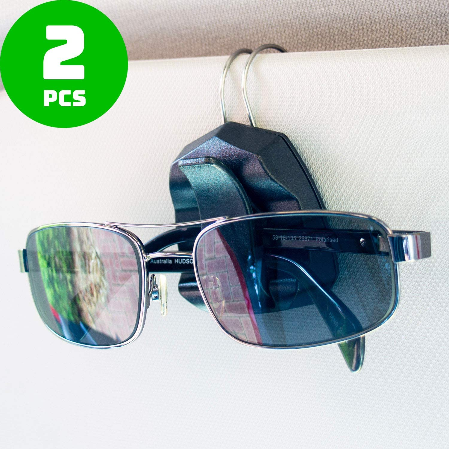 Sunglass Clip for Car Visor - Premium Eyeglass Holder - Set of 2