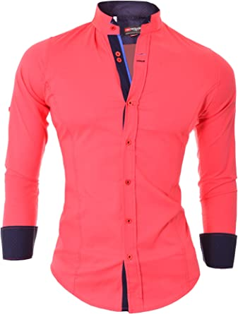 D&R Fashion Camisa la Manera los Hombres Elegantes con Cuello Alto y Decorativo fijación Slim Fit Muchos Colores