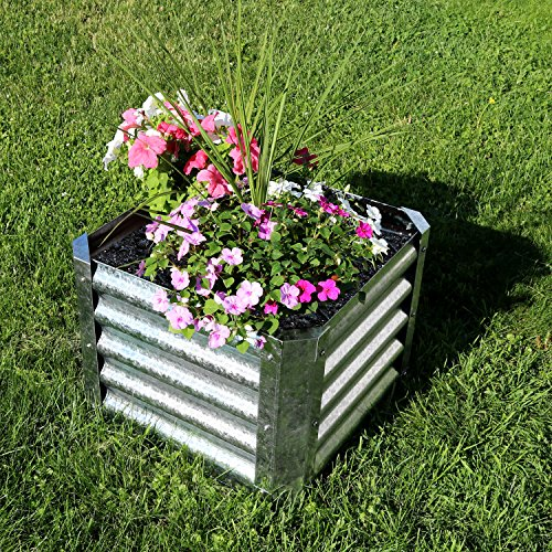 sunnydaze raised metal garden bed kit galvanized steel 22 inch square planter f ebay. Black Bedroom Furniture Sets. Home Design Ideas